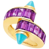 Cartier Turquoise Amethyst Gold Crossover Ring