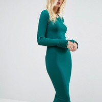 ASOS Midi Rib Bodycon Dress with Frill Cuffs at asos.com