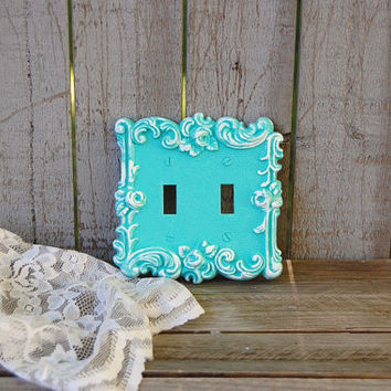 Double Wall Plate, Double Switch Cover, Shabby Chic, Tiffany Blue, White, Ornate, Vintage
