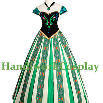 Frozen Cosplay Princess Anna Costume, Anna Coronation Cosplay Party Dress Custom Any Size For adult,Kids And Plus Size