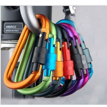 3pcs Quality Aluminum Alloy D Shape Carabiner Screw Lock Bottle Hook Keychain Buckle Hanging Padlock Key Chain Camp