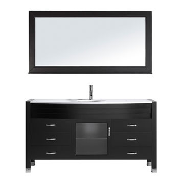 "Ava 61"" Single Bathroom Vanity with White Engineered Stone Top and Round Sink with Faucet and Mirror"