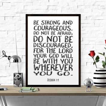 Nursery Art Be Strong and Courageous Boy Bible Verse Wall Art Inspirational Wall Art Joshua 1 9 Christian Nursery Prints Printable Scripture