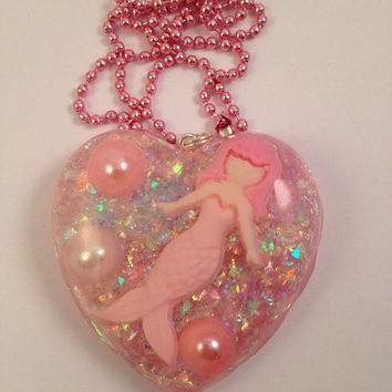 Mermaid Pink Heart Pendant With Pearls, Under The Sea Life, Little Mermaid, Pearly Shimmer Pendant