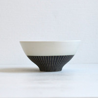 Two-tone Striped Chawan (Rice Bowl) /Wakako Senda (13003017)