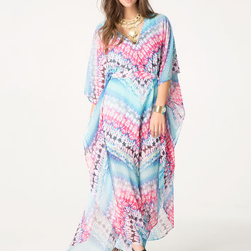 bebe Womens Petite Kaftan Maxi Dress Jungle Tie Dye 1