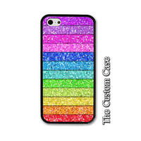 Rainbow Glitter Phone Case, Rainbow Phone Case, Glitter Iphone Case, Cute Phone Case, Iphone 4/5/5c/6/6+, Samsung Galaxy S3/S4/S5/S6/S6 Edge