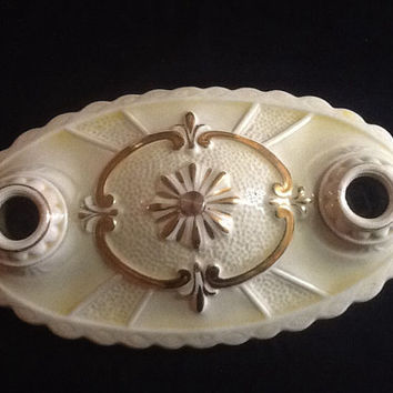 Antique Vintage Art Deco Porcelain Ceiling Light Fixture 1930s White Yellow with  Gold Accents