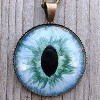 Dark Green and Pale Blue Evil Eye Pendant, or dragon, monster, reptile eye