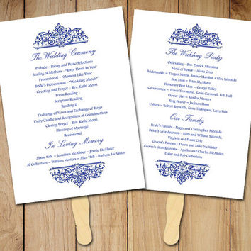 "Wedding Fan Program Template - Printable Ceremony Program - ""Cella"" Nautical Wedding Program Favor - Navy Blue Program - Order of Service"