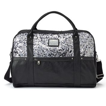 Juicy Couture Natalie Mixed Media Convertible Weekender Bag (Grey)
