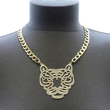 Gold BIG TIGER HEAD Statement SHORT Necklace CHUNKY Link Chain