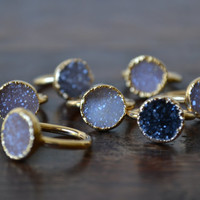 DAINTY DRUZY /// Stackable Druzy Gold Electroformed Ring