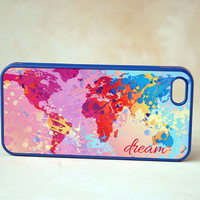 Inspirational Dream Colorful World Map Silicone Phone case iPhone 5 Case, iPhone 5s Case World Map Phone Case