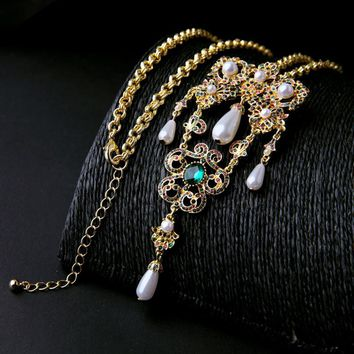 Victorian Inspired Gold Filigree Crystal Pearl Pendent Long Chain Necklace