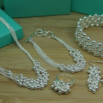 S452 new  hot full set hot charming silver glaring grapes beads jewelry earring & necklace & bracelet & bangl & ring women sets