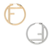 Fendi Logo Hoop Earrings in Soft Gold & Palladium | FWRD