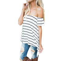 Women's Off the Shoulder White with Black Stripes Short Sleeve Summer Top