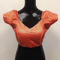 Brocade Blouse - Orange