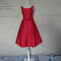 Red Satin Staps Backless Homecoming Dress With Bowknot,Short Prom Dress
