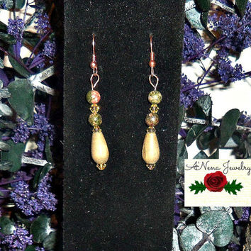 "Tribal Earrings: Handmade Unakite, Wood, And Canary Yellow Swarovski Crystals ""Sturdy Foundation"""