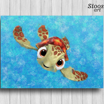 squirt turtle print finding nemo decor nautical watercolor nursery wall art