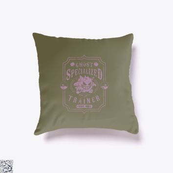 Ghost Specialized Trainer, Pokemon Throw Pillow Cover