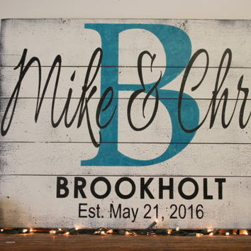Name Sign Initial Sign Personalized Sign Pallet Sign Wedding Gift Bridal Shower Gift Housewarming Gift Anniversary Gift Farmhouse Wall Decor