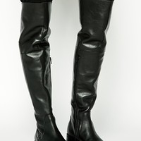 Warehouse Leather Over The Knee Boots
