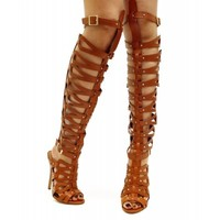 NEW Breckelle Studded Opem Toe Knee High Strappy Gladiator Pump Sandals TAN