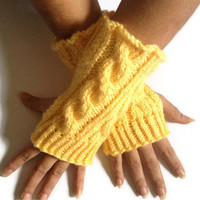 Fingerless Gloves Wrist Warmers in Yellow Cable Handknit
