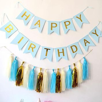 Happy Birthday Banner Chic White & Blue Party Decorations Versatile Beautiful Bunting Flag Garland Wedding Party Event decor 4