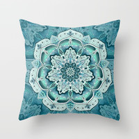 Winter blue floral mandala Throw Pillow by maria_so