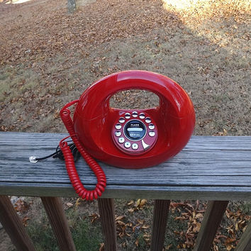1980s Vintage RED Handbag or Donut Telephone, Removable Curly Headset Cord & Wall Cord, Good Condition, Vintage Phone, Vintage Technology