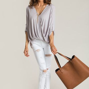 Holly Grey Surplice Blouse
