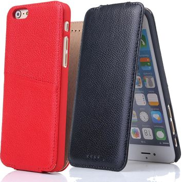 B89 Case For iPhone 6 6G 6S Plus Business Style Genuine Leather Vertical Flip Phone Cases Cover For Apple iPhone 6Plus  6SPlus