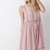 Blush Pink Boho Crochet Dress
