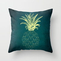 y-hello pineapple Throw Pillow by AmDuf