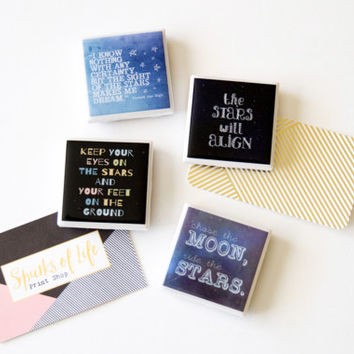 Star magnets, inspirational quote magnets, fridge magnets, star quotes about stars, inspiring quotes, gifts under 20, best friend gift, tile