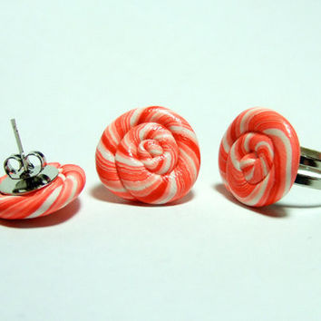 Peppermint Candy Jewelry Set  Adjustable Ring and by TheHappyAcorn