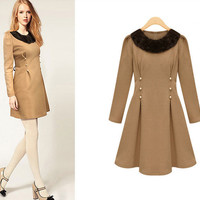 Faux Fur Collar Pearl Accent Waist Long Sleeves Woolen Dress