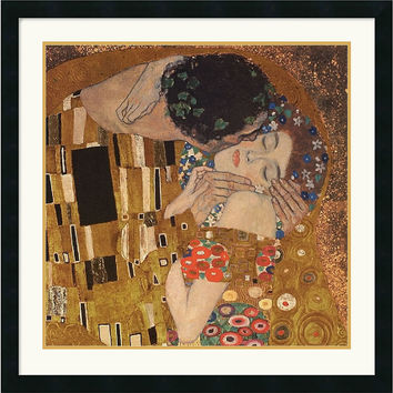 "0-007018>30x30"" Gustav Klimt The Kiss detail 1907 Framed Print"