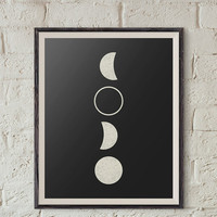 Moon Phases Printable, Moon Phases Wall Art, Moon Nursery Wall Decor, Nursery Wall Art, Lunar Phases Download, Moon Poster