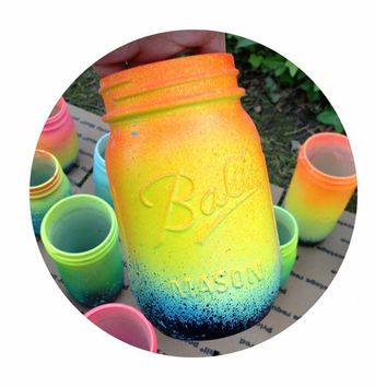 Neon Yellow Ombre Galaxy Mason Jar - Hand Painted - Super Unique One of a Kind Spring Bright Colors
