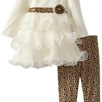 Nannette Baby Girls' 2 Piece Animal Print Sequin Dress and Legging