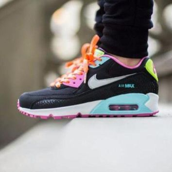 VON3TL Sale Nike Air Max WMNS 90 GS Fruit Loops Black Pink Running Shoes Sport Shoes 345017 063