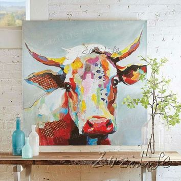 ESBONHS Cow Oil painting Handmade On Canvas Wall Art Pictures Painting For Living Room Modern Abstract Quadros Hand Painted Home decor