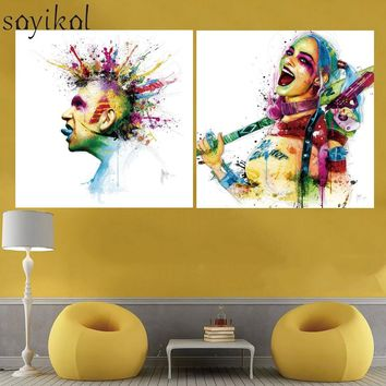 Print Painting Canvas Art Poster Minotaur Harley Quinn Rainbow Colored Portrait Art Wall Decoration Modern Wall Art No Frame