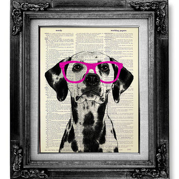Dalmatian Art, DICTIONARY Art Print, Dictionary Paper, Dog Wall Art, Nerdy DOG Poster, Dog Wall Decor, Dog Artwork, GEEKERY Dog Red Glasses