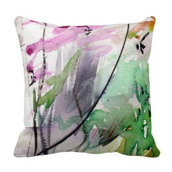 Abstract Watercolor Design Mix and Match 2 Throw Pillows